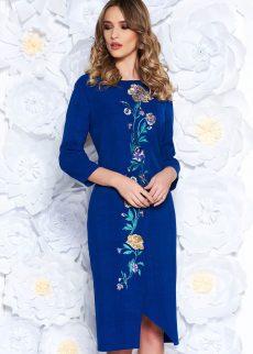 rochie albastra eleganta cu croi larg din stofa