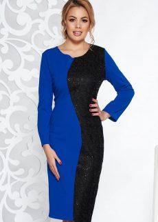 rochie albastra eleganta midi din material usor el S041319 1 406505