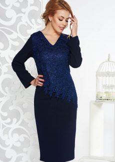 rochie albastra inchis de ocazie midi tip creion d S041671 1 404631