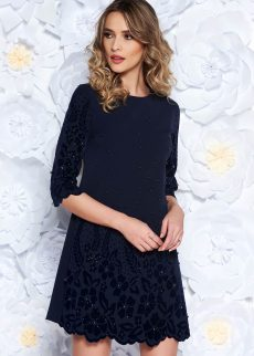 rochie albastra inchis eleganta cu croi larg din s S041895 3 407244