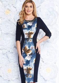 rochie albastra inchis eleganta midi tip creion di S040176 1 409327