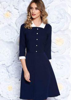 rochie albastra inchis office midi in clos din sto S040359 4 407229