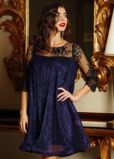 rochie artista albastra inchis de ocazie cu croi l S041243 2 408125