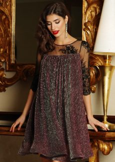 rochie artista rosa de ocazie cu croi larg din mat S041243 5 408131