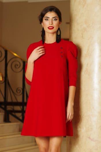 rochie artista rosie de zi cu croi larg cu maneci S040657 1 408103