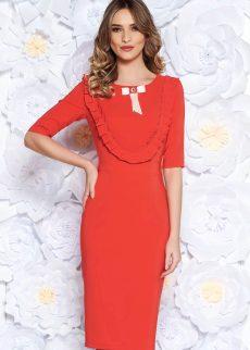 rochie corai eleganta tip creion din stofa S041929 2 407307