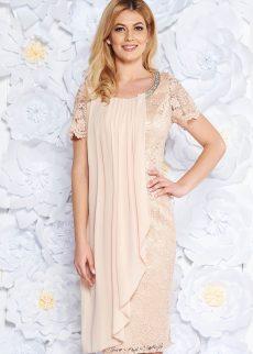 rochie crem de ocazie tip creion din voal si dante S039280 5 408959