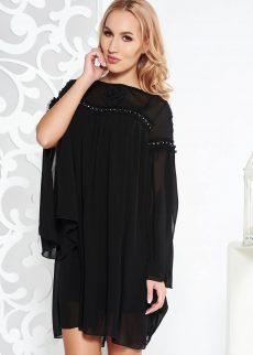 rochie fofy neagra de ocazie cu croi larg din voal S040437 1 403294