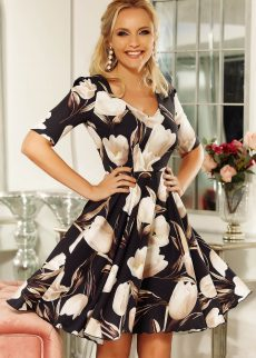rochie fofy neagra eleganta in clos din material u S041935 1 407937