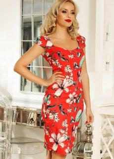 rochie fofy rosie de zi midi tip creion din stofa S042214 2 409940