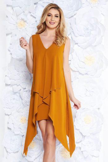 rochie mustarie eleganta asimetrica din stofa subt S039868 1 409298