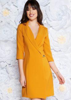 rochie mustarie eleganta tip sacou cu croi S041988 3 409070