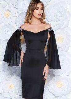 rochie neagra de ocazie tip creion din S040011 1 407859