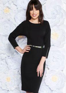 rochie neagra eleganta midi din stofa s S041305 2 408990