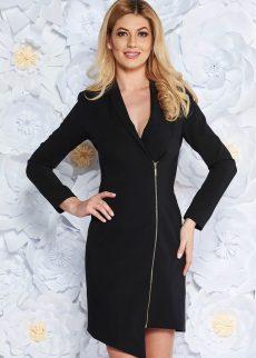 rochie neagra eleganta tip sacou din stofa S042036 2 409029