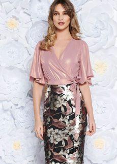 rochie rosa de ocazie tip creion din m S041893 1 407838