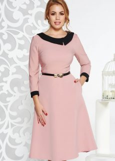 rochie rosa eleganta in clos din stofa subtire uso S040358 1 404400