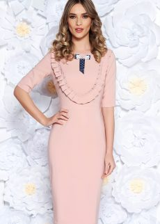 rochie rosa eleganta tip creion din stofa S041929 3 407279