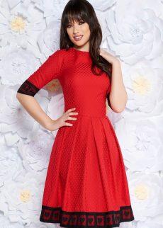 rochie rosie de ocazie in clos midi din ma S042023 1 409017