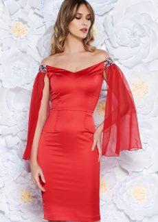 rochie rosie de ocazie tip creion din S040011 2 407855