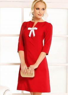 rochie rosie de zi cu croi in a din stofa uso S040740 3 408242