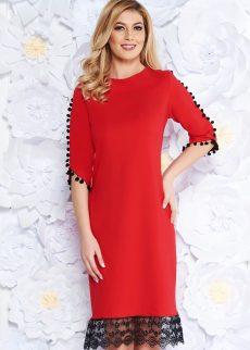 rochie rosie eleganta cu croi larg din material us S039158 3 409355