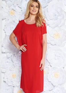 rochie rosie eleganta cu croi larg din voal captus S038459 5 409075