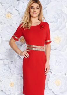 rochie rosie eleganta cu un croi mulat din materia S038567 4 408997