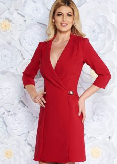 rochie rosie eleganta tip sacou cu croi in S041988 1 409067
