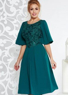 rochie verde inchis de ocazie in clos din stofa us S041309 1 406548