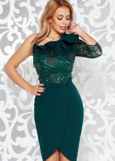 rochie verde inchis de ocazie tip creion din stofa S040286 1 390956