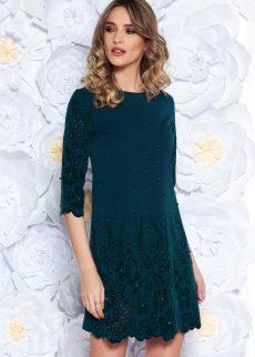 rochie verde inchis eleganta cu croi larg din stof S041895 2 407248