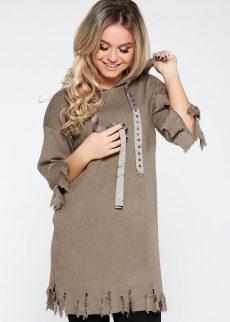 Rochie SunShine maro casual cu croi larg din material tricotat cu rupturi cu gluga nedetasabila