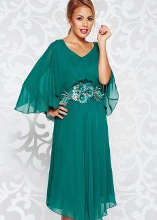 Rochie verde-inchis de ocazie cu croi larg din voal captusita pe interior cu aplicatii de dantela