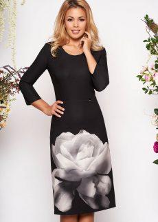 Rochie Neagra Midi din Material Elastic cu decolteu Rotunjit cu Imprimeu Floral