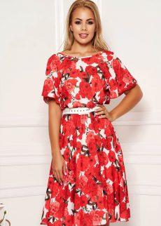 Rochie Rosie in Clos Midi cu Imprimeu Floral cu Elastic in Talie si Maneci Tip Fluture